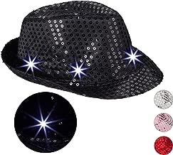 Relaxdays Pailletten Hut, 6 blinkende LEDs, Glitzer, Männer & Frauen, JGA, Partyhut, Einheitsgröße, verschiedene Farben