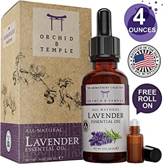 Lavender Essential Oil. 4 oz Bottle w Roller. Pure Therapeutic Grade Undiluted. For Bath, Diffuser, Misting, Massage, Aromatherapy