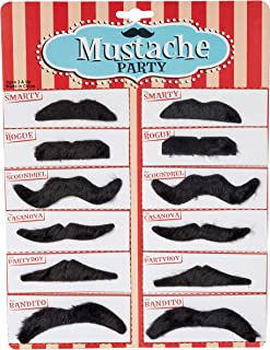Kicko Party Black Mustache - 12 Adhesive Whiskers for Kids and Adults Costume Play Accessories - 3.5 Inch Beard Set Perfec...