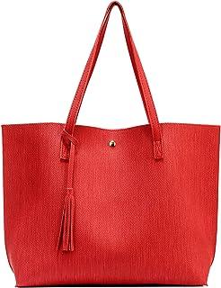 Nodykka Damen-Handtasche mit Tragegriff, PU-Leder, Quaste, Schultertasche