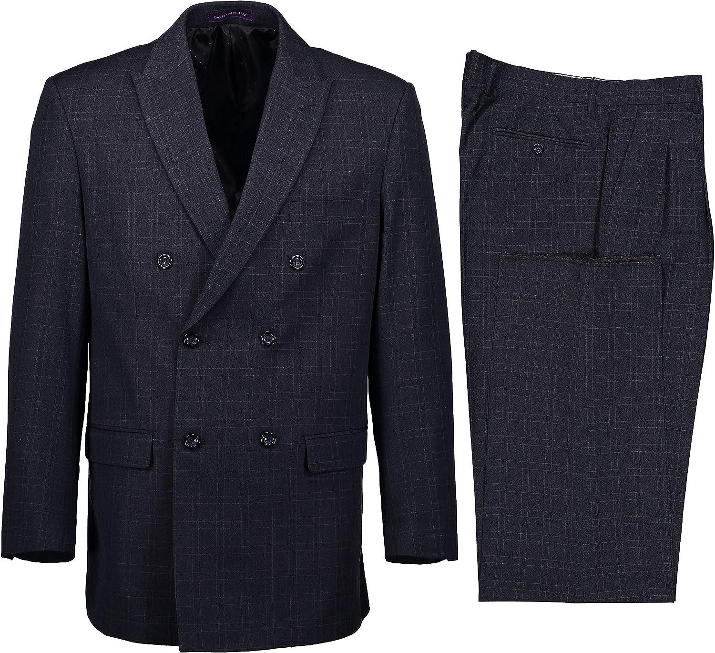 VINCI Men's Windowpane Plaid Double Breasted 6 Button Classic Fit Suit New