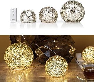 3er Set Glaskugeln mit LED Lichterkette inkl. Timer und Ferbedienung - In und Outdoor geeignet - Deko Kugeln in Bruchglaso...