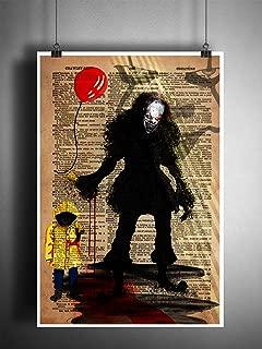 Horror art, Pennywise the creepy clown, IT movie art