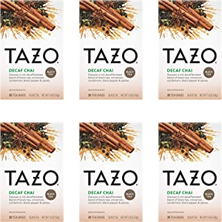Tazo Black Tea Bags for a cup of relaxing Decaf Chai Caffeine Free 20 Count, Pack of 6 Package May Vary