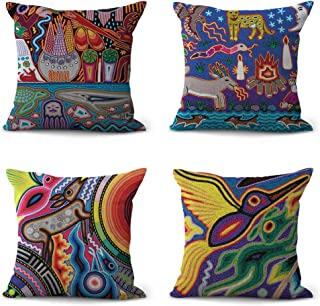 Set of 4 Inspired by Mexican Folk Art Digital Printing Cushion Covers Pillow Living Room Home Decor Items Wholesale Price