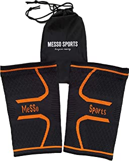 MeSSo Sports Knee Brace Compression Sleeve - Anti Slip Silicon - FDA Approved- Support for Sports (Running, Hiking, Fitness) - Relives Joint Pain, Arthritis, Injury Recovery, Single Wrap (S)