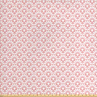 Ambesonne Art Deco Fabric by The Yard, Fish Scale Inspired Design Damask Stencil Pattern of Tiny Flower Petals, Decorative Fabric for Upholstery and Home Accents, Pale Pink and White