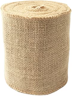 "LWR CRAFTS Natural Burlap Ribbon 32 Feet (6"")"