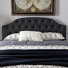 Baxton Studio Upholstered Scalloped Headboard in Dark Gray (Full: 56.1 in. W x 2.95 in. D x 25 in. H)