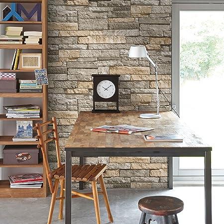 Superfresco Easy Ledgestone Paste the wall Stone Effect Grey/Terracotta Wallpaper