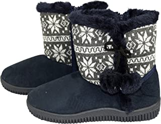 Peach Couture Faux Suede Fleece Lined Snowflake Kids Winter Snow Shearling Boots