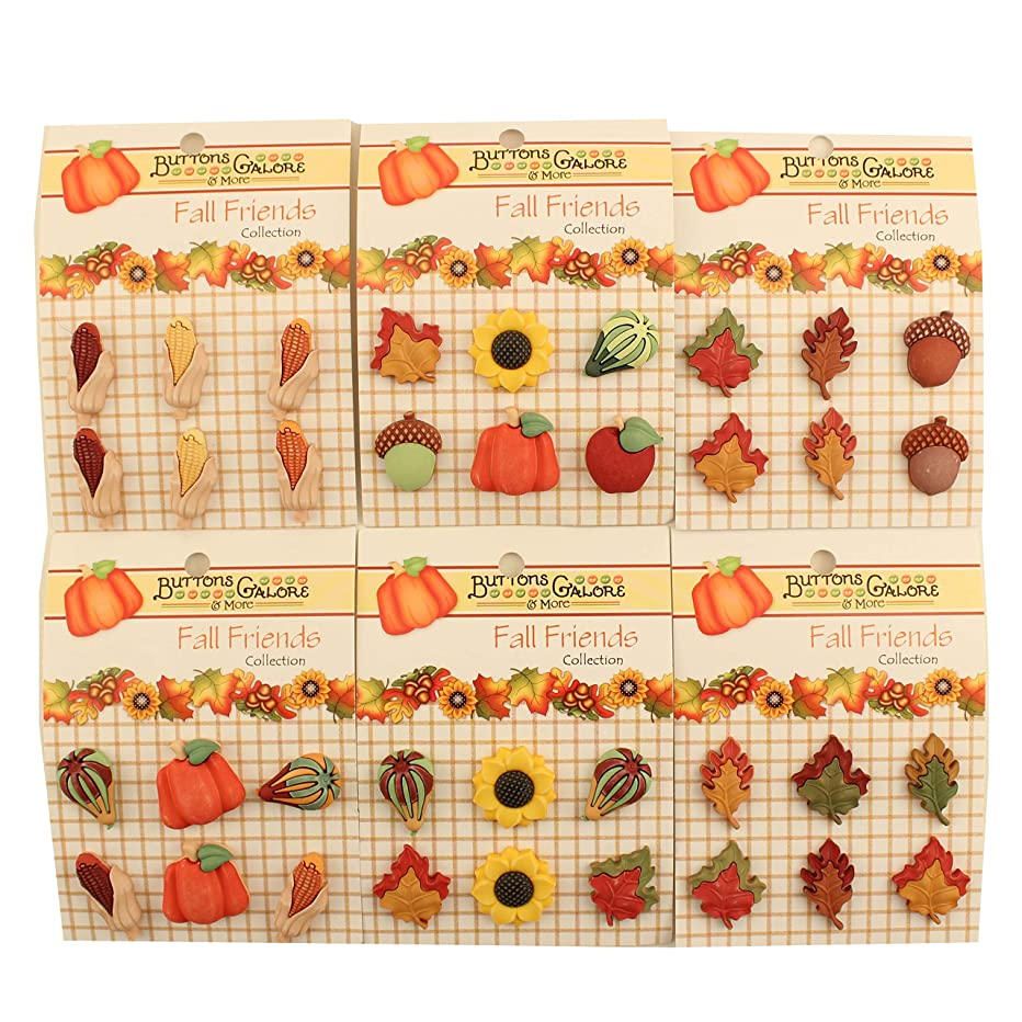 Buttons Galore Fall Friends 3D Buttons-Set of 6 Cards