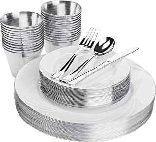 Elegant Silver Plastic Plates Set - 25 Guests 150 Pieces - Includes Heavy Duty Disposable Plates, Silverware, Cups - Fancy Plastic Plates for Parties, Wedding, Christmas, Dinner Party, Thanksgiving