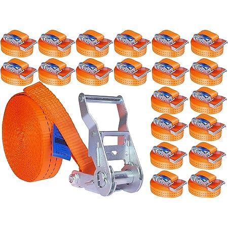 Industrie Planet 20 Stück 800kg 4m Spanngurte Mit Ratsche Zurrgurte Einteilig 1 Teilig Ratschengurte 25mm Orange 800 Dan 0 8t Auto