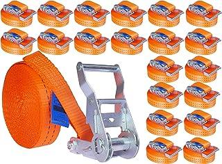 INDUSTRIE PLANET 20 Stück 2000kg 6m Spanngurte mit Ratsche orange einteilig 1 teilig Zurrgurte Ratschengurt 35mm 2000 daN 2t