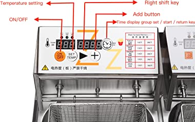 Zz Pro 12L Commercial Deep Fryer Countertop Cookware Large Capacity With Baskets Intelligent Panel for Heavy-duty Job Stainle