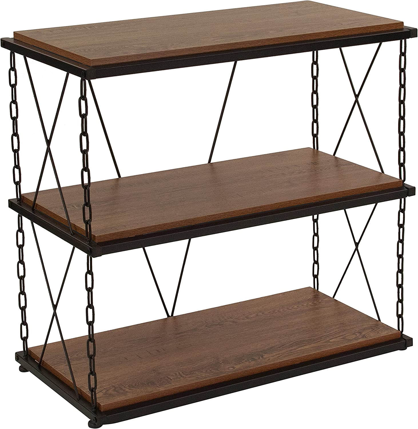 Flash Furniture Vernon Hills Collection Antique Wood Grain Finish Two Shelf Bookshelf with Chain Accent Metal Frame