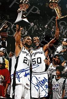 David Robinson Tim Duncan Autograph Replica Poster Print - San Antonio Spurs