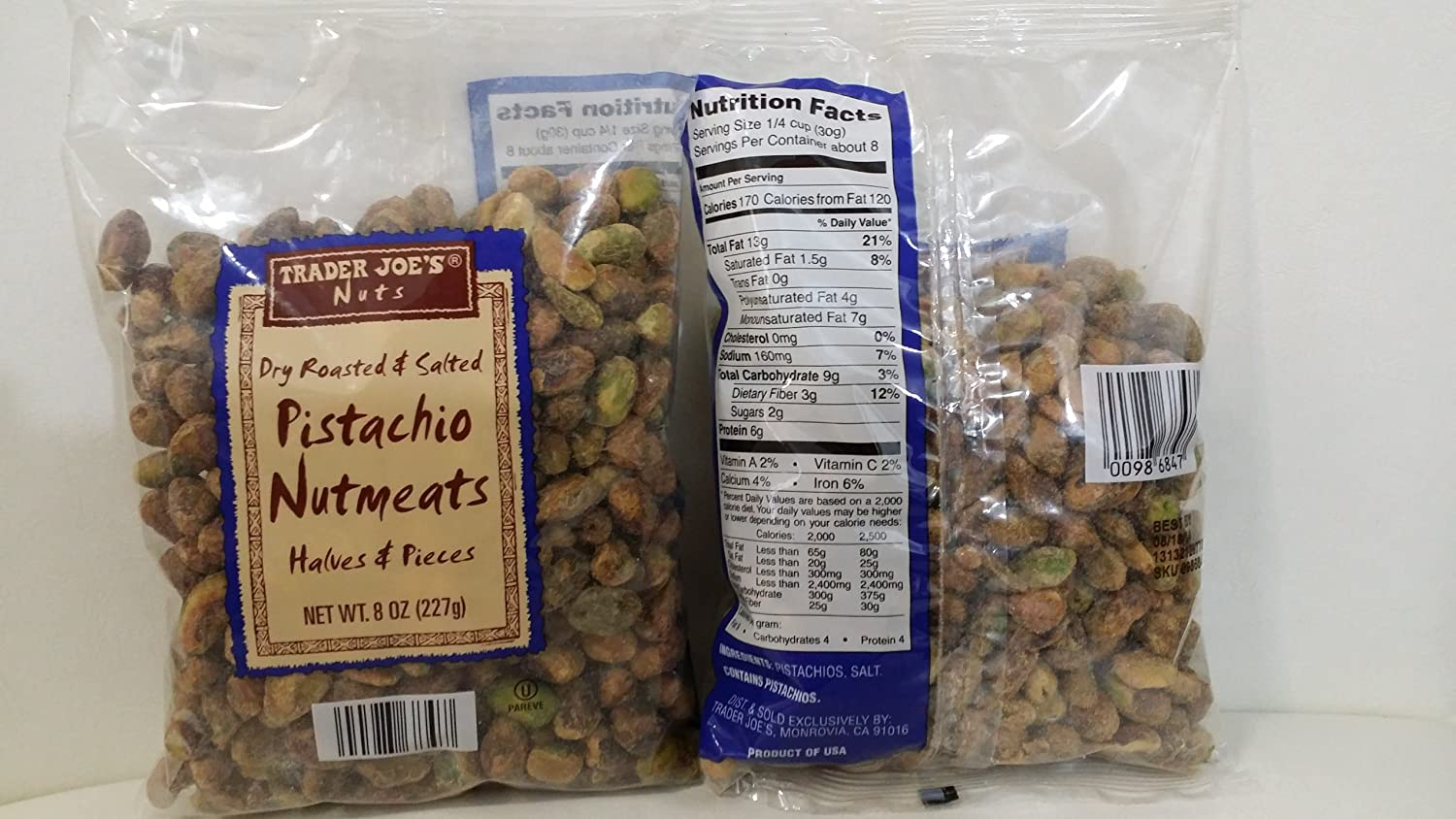 Trader Joes Pistachio Nutmeats 2021 shelled Limited time for free shipping 1 Salted - Roasted Dry