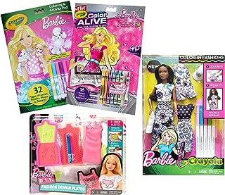 Barbie Coloring Books Doll Bundle Fashion Design Plates Color in Doll and Dress Coloring Books for Girls, Brunette African American