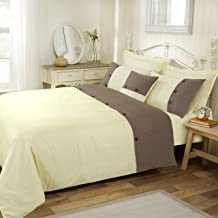 Amal Quilt Cover Set by Anfora is crafted from soft 300 Thread Count Cotton blend and features beige cuff with wooden butt...