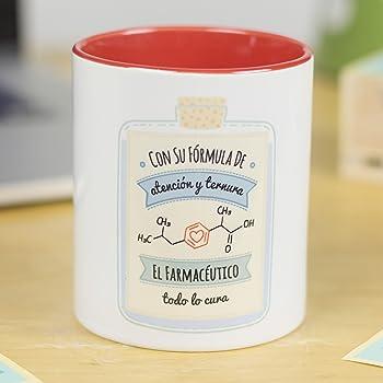 La Mente es Maravillosa - Taza frase y dibujo divertido (Con su fórmula de atención y ternura el farmacéutico todo lo cura) Regalo FARMACÉUTICO