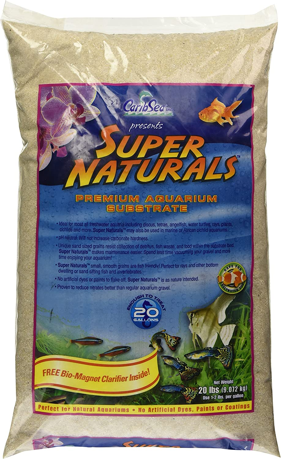 Caribsea Super Naturals Aquarium Sand, 20Pound, Crystal River