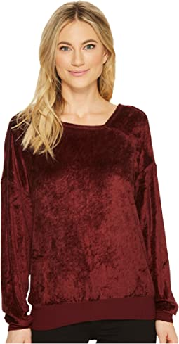 Velvet Long Sleeve Asymmetric Neck Pullover
