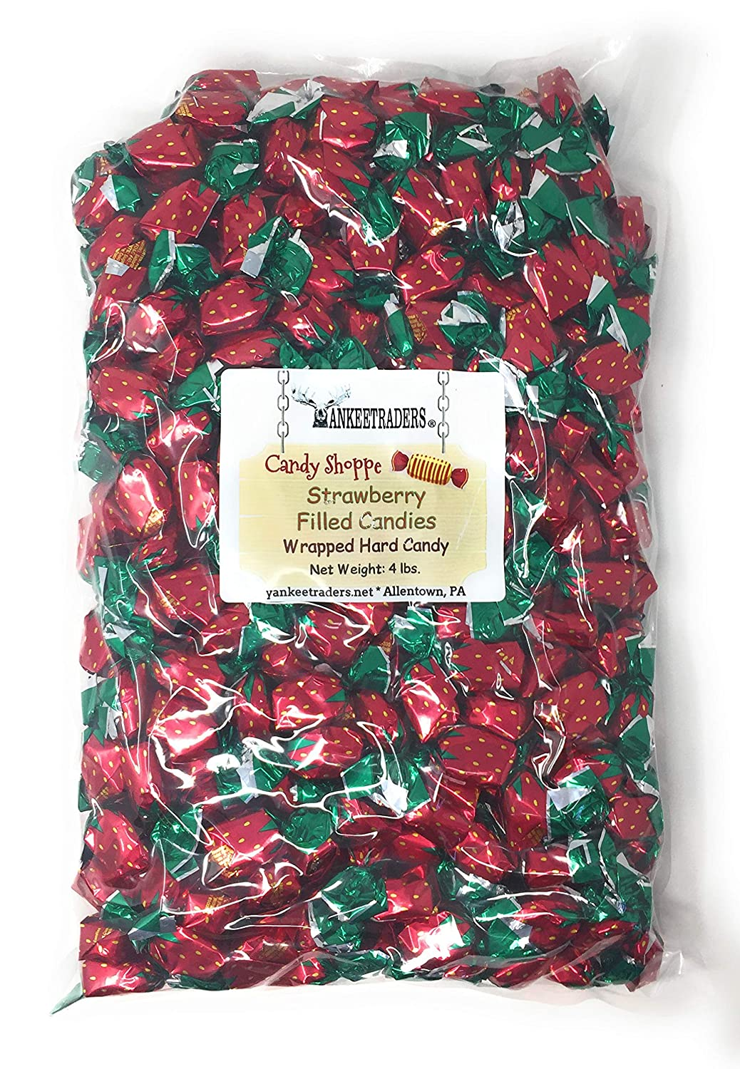 Yankee Traders Outlet sale feature Strawberry Filled Wrapped Max 75% OFF Pound Hard Candy 4