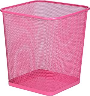 Honey-Can-Do TRS-05085 Square Mesh Trash Basket, 10.5 x 10.5 x 11.7, Pink