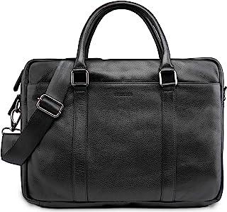 LEABAGS Istanbul Leder-Umhängetasche I Laptoptasche 15 Zoll I Messenger Bag aus echtem Büffel-Leder I Aktentasche I Vintage Ledertasche I Bürotasche I Arbeitstasche I 40x31x12cm
