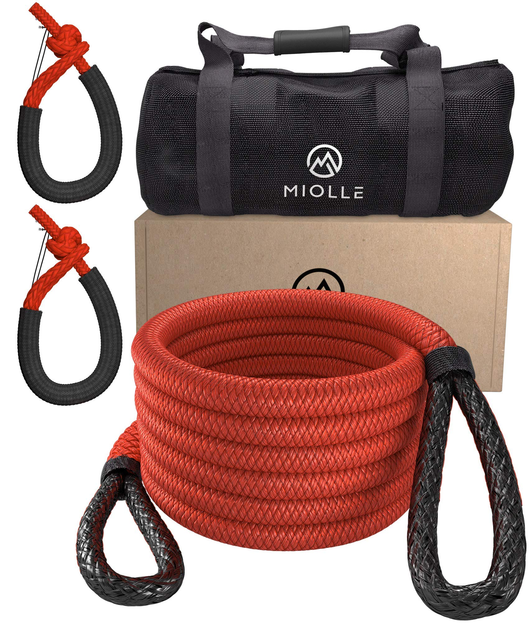 Red 29,300 lbs Miolle 7//8 x 30 Kinetic Recovery /& Tow Rope 35000 lbs with 2 Spectra Fiber Soft Shackles 3//8 x 6