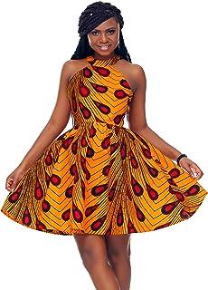 SHENBOLEN Women African Ankara Batik Print Traditional Clothing Casual Party Dress