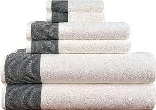 LUNASIDUS Venice 6 Piece Luxury 100 Percent Turkish Combed Cotton Towel Sets (Black)