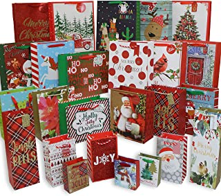 612 Vermont Christmas Gift Bags, Bulk Set Includes 5 Jumbo/Large, 6 Medium, 6 Small, 3 Perfume, 3 Mini, 2 Wine Bottle for Wrapping Holiday Gifts (Pack of 25)