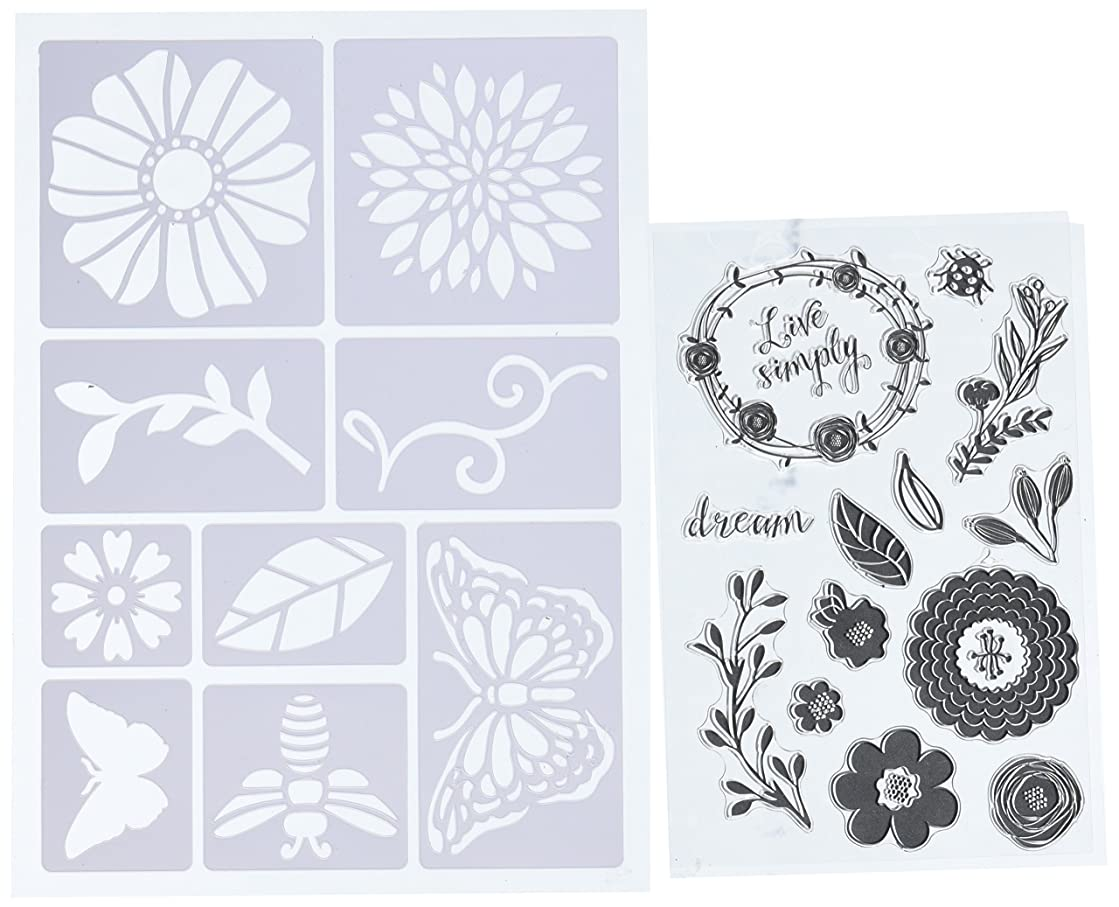 Momenta Art-C Stencil and Clear Stamp-Flowers & Bugs
