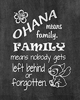 Lilo and Stitch - Ohana Means Family - Inspired by Lilo and Stitch - Poster Print Photo Quality - Made in USA - Disney Inspired - Home Art Print -Frame not included (11x14, Ohana Chalkboard)