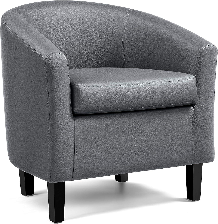 YAHEETECH Barrel Chair Faux Club Leather Accent Arm 100% Regular dealer quality warranty