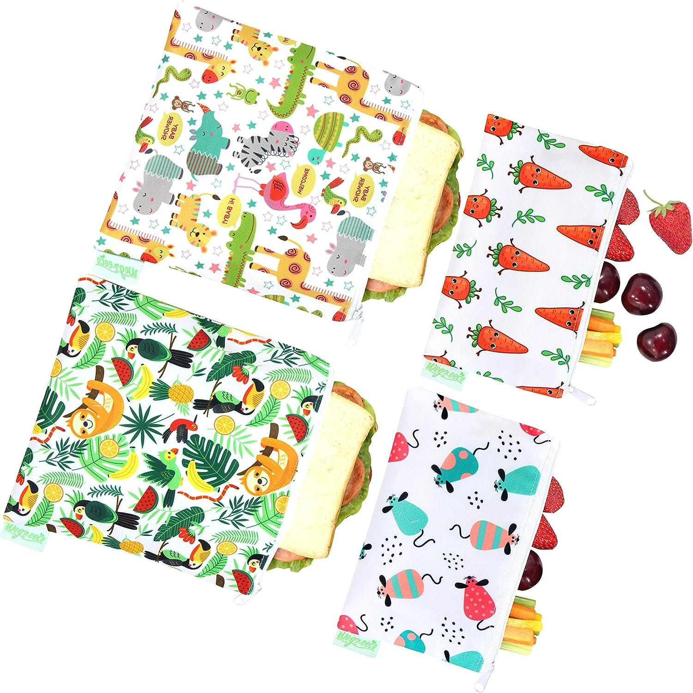 Wegreeco Reusable Snack Bags, (Set of 4) - (Fruits,Animals)