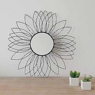 Rose dor Miroir mural d/écoratif en m/étal 48,5 cm de haut d/écoration murale de fleur en m/étal pour salon salle de bain chambre entr/ée