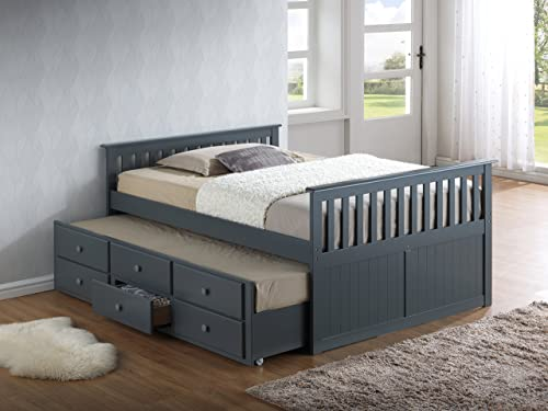 Broyhill Kids Marco Island Trolley bed with trundle bed, Wood, Gray