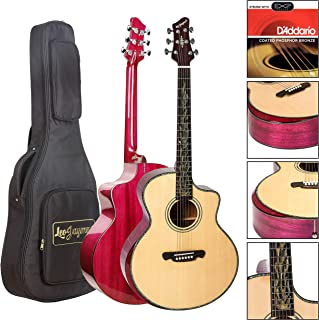 """Sponsored Ad - Leo Jaymz 41"""" Solid Spruce Top Acoustic Guitar with Mahogany Back and Side and Armrest (Purple)"""