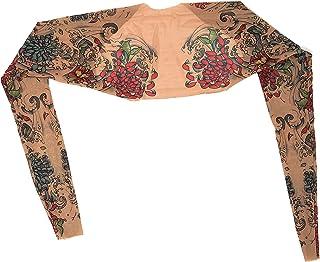 Wild Rose Ladies Tattoo Sleeve Mesh Shrug Bolero Crop Jacket Slip On Back Arm Stocking