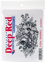 """Deep Red Cling Stamp 4.1""""X2.1"""" - Floral Centerpiece (Pack of 3 )"""