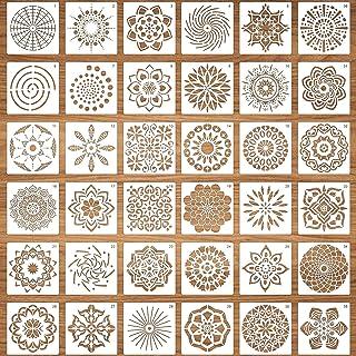 LOOPES Lot de 36 pochoirs réutilisables en forme de mandala découpés au laser pour loisirs créatifs, scrapbooking, tissu, ...