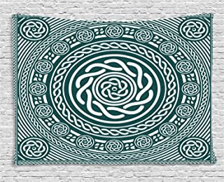 Ambesonne Celtic Decor Collection, Ethnic Irish Circular Design with Clockwise Twisty Spiral Lines Insular Art Decor, Bedroom Living Room Dorm Wall Hanging Tapestry, 60W X 40L Inch, Multi