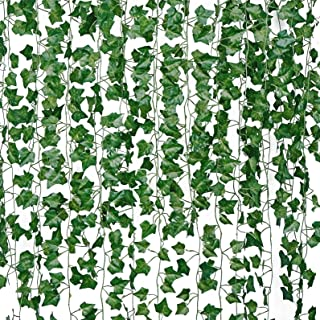 JEGONFRI 84FT-12 Pack Artificial Ivy Leaves Hanging Plants Faux Greenery Garland Fake Green Vines for Party Home Wedding Wall Décor Garden Office