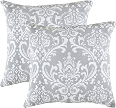 TreeWool Decorative Square Throw Pillowcases Set Damask Accent 100% Cotton Cushion Cases Pillow Covers (16 x 16 Inches / 40 x 40 cm; Silver Grey & White) - Pack of 2
