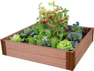 Frame It All VAL-SQR2 Raised Garden with 1-Inch Profile Composite Wood Grain Timbers, 4-Foot by 4-Foot by 12-Inch (Discontinued by Manufacturer)