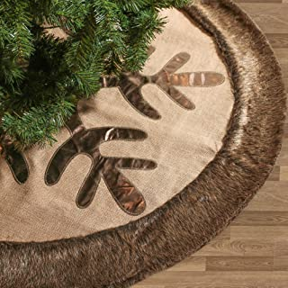 Valery Madelyn 48 inch Woodland Burlap Christmas Tree Skirt with Snowflake and Faux Fur, Themed with Christmas Ornaments (Not Included)